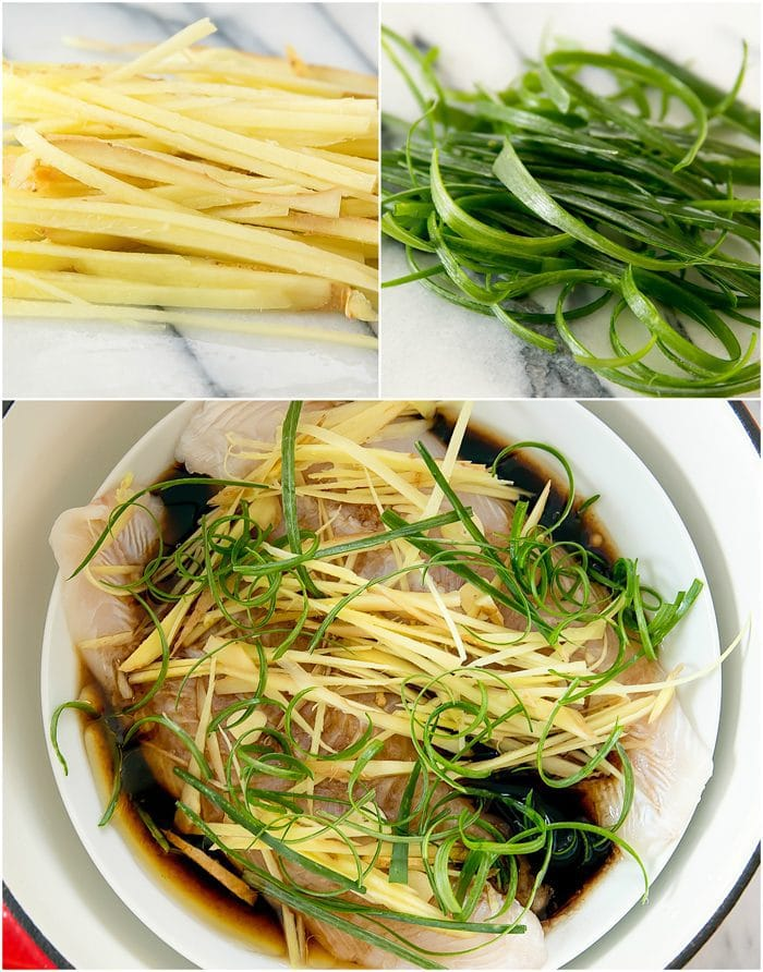 process photo collage showing prepped ginger and scallions steamed with the fish