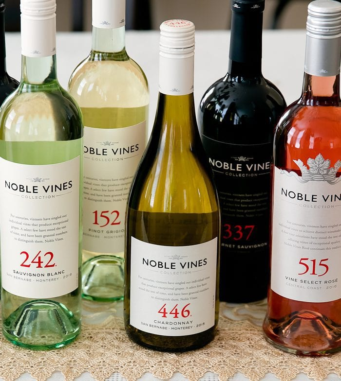 six bottles of noble vines wine