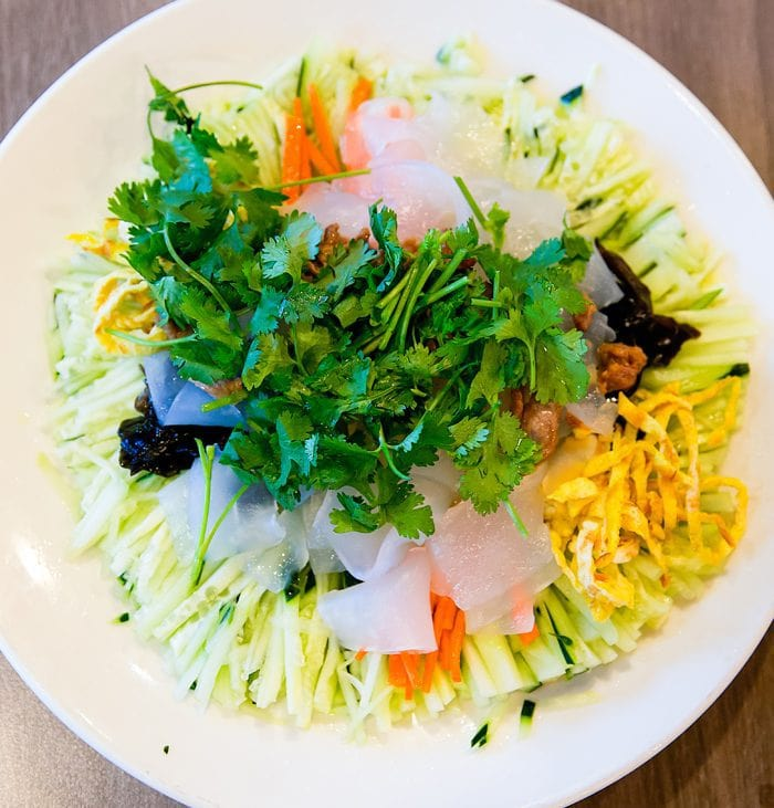 overhead photo of Rainbow Rice Noodles served at Village North