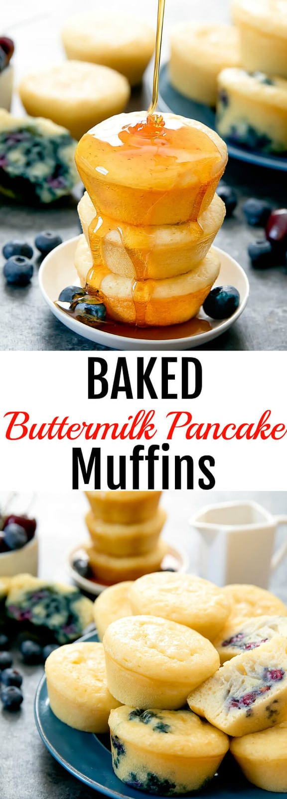 Baked Buttermilk Pancake Muffins. These easy pancakes come out so fluffy and thick! Cooking them in the oven allows you to make a large quantity all at once.