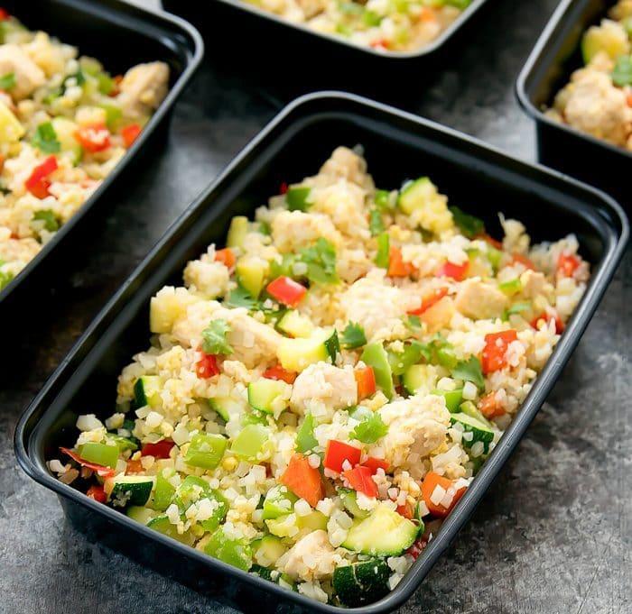 one container of chicken cauliflower fried rice
