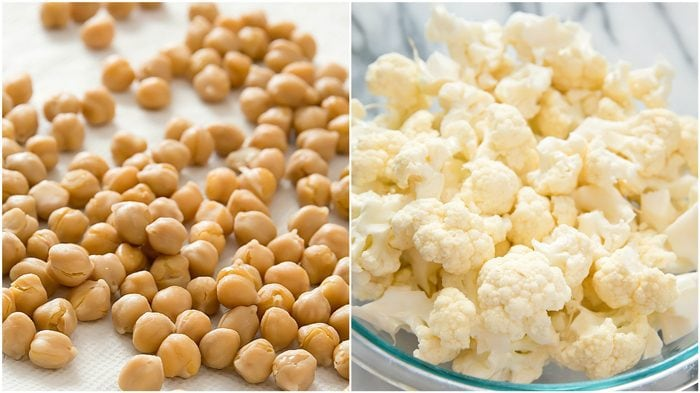 photo collage of chickpeas and cauliflower