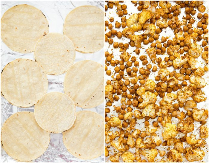 photo collage of tortillas and roasted chickpeas and cauliflower