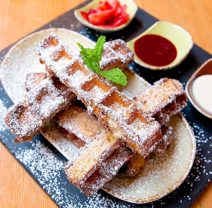 photo of a waffle brunch dish served at Madison on Park