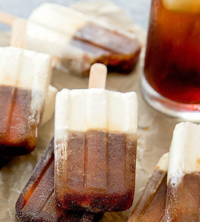 close-up photo of Cold Brew Coffee Latte Ice Pops