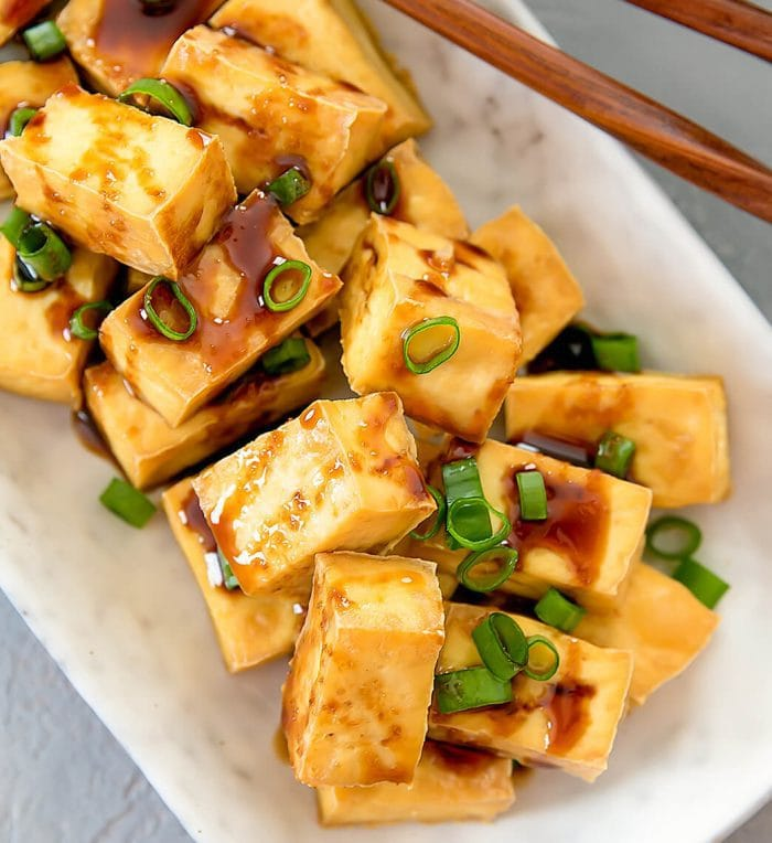 overhead photo of Crispy Baked Tofu