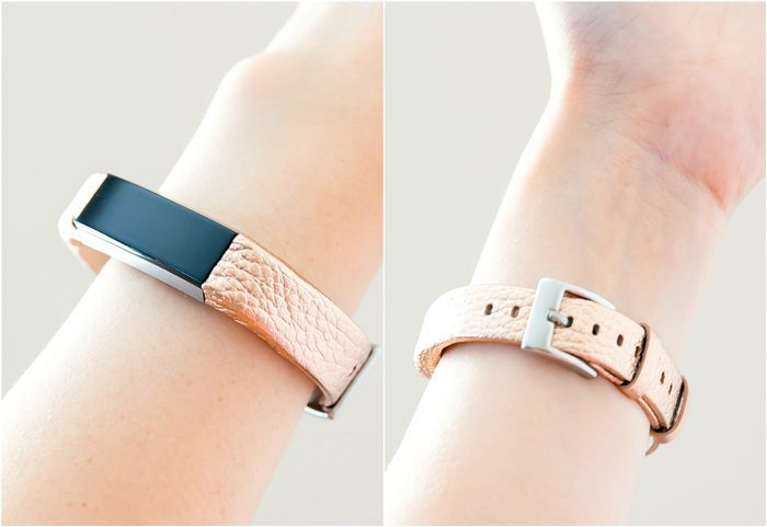 photo collage of Henoda leather fitbit bands