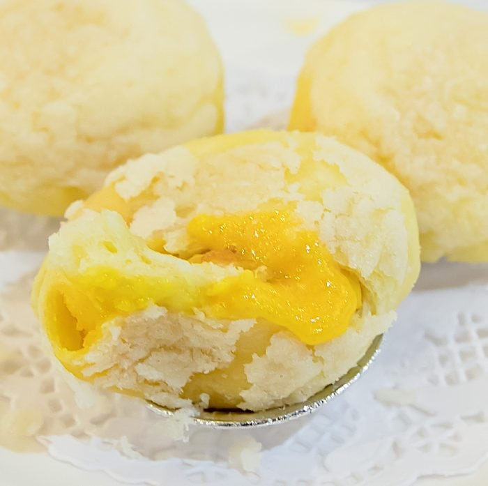 close-up photo of Creamy Egg Yolk Bun