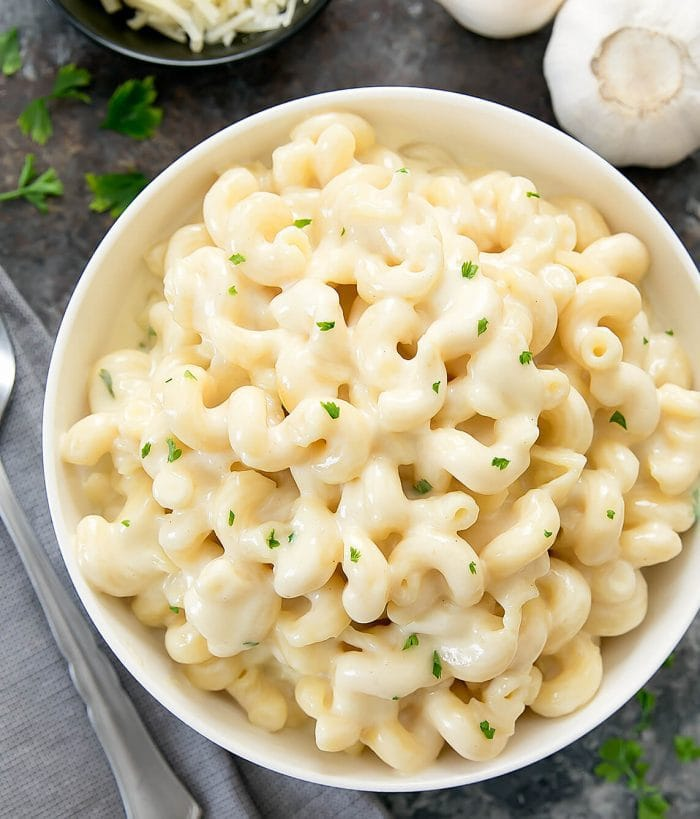 overhead photo of garlic parmesan macaroni and cheese