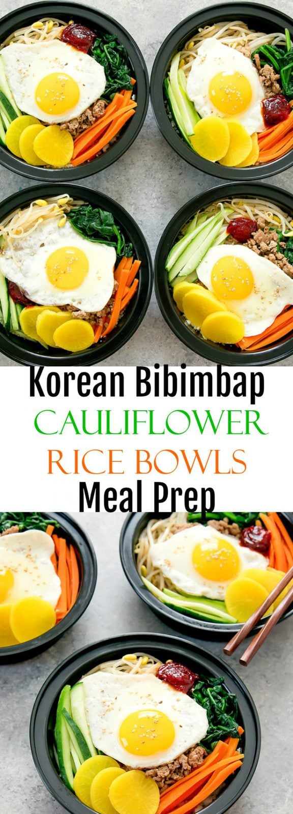 Korean Cauliflower Rice Bowls Meal Prep