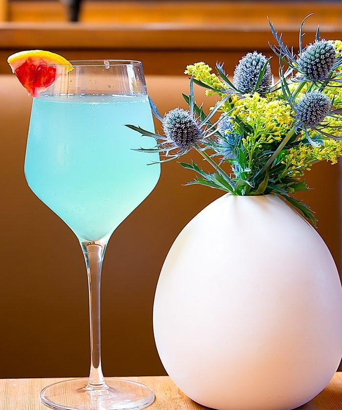 photo of a glass Blue Magic Mimosa