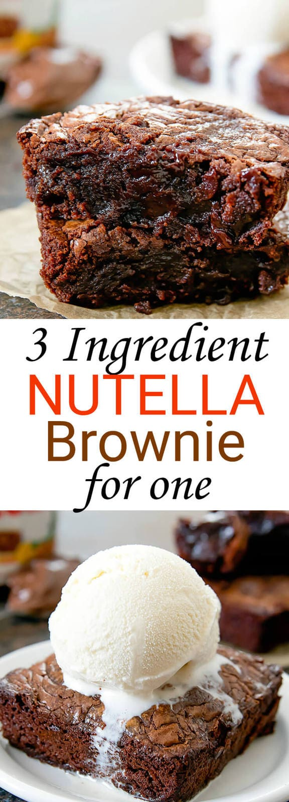 Single Serving 3 Ingredient Nutella Brownie for One. This recipe makes one extra large fudgy brownie that serves one or two people.