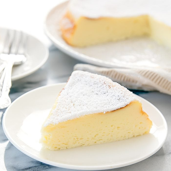 photo of a slice of Japanese Cheesecake