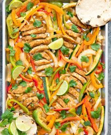 overhead photo of sheet pan chicken fajitas