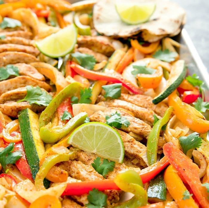 close-up photo of Sheet Pan Chicken Fajitas
