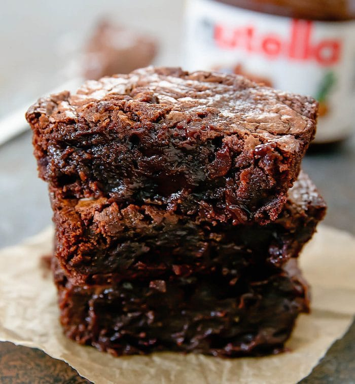 close-up photo of a stack of Nutella Brownie for One