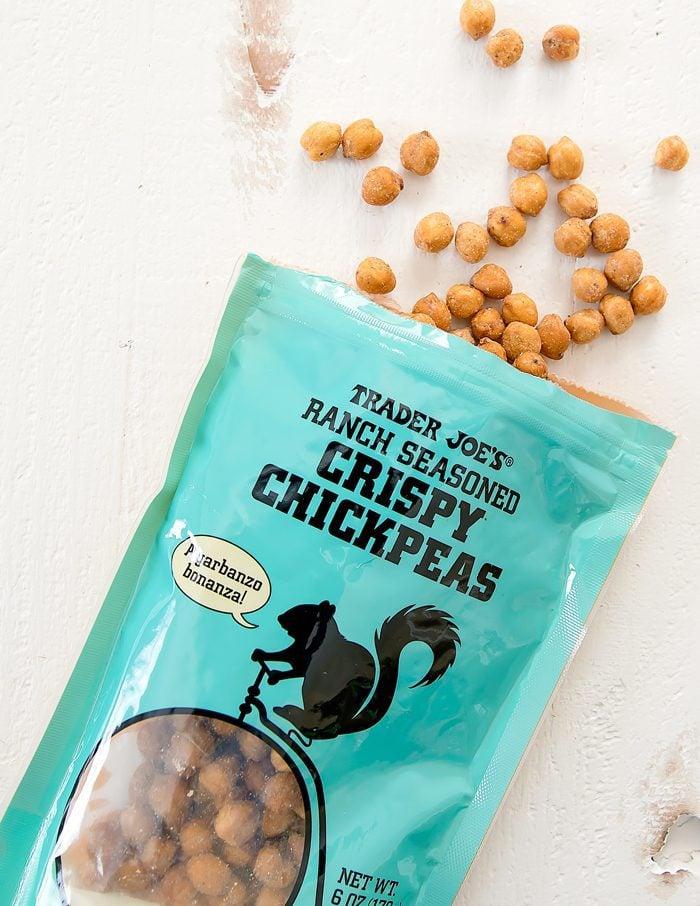 overhead photo of Ranch Seasoned Crispy Chickpeas