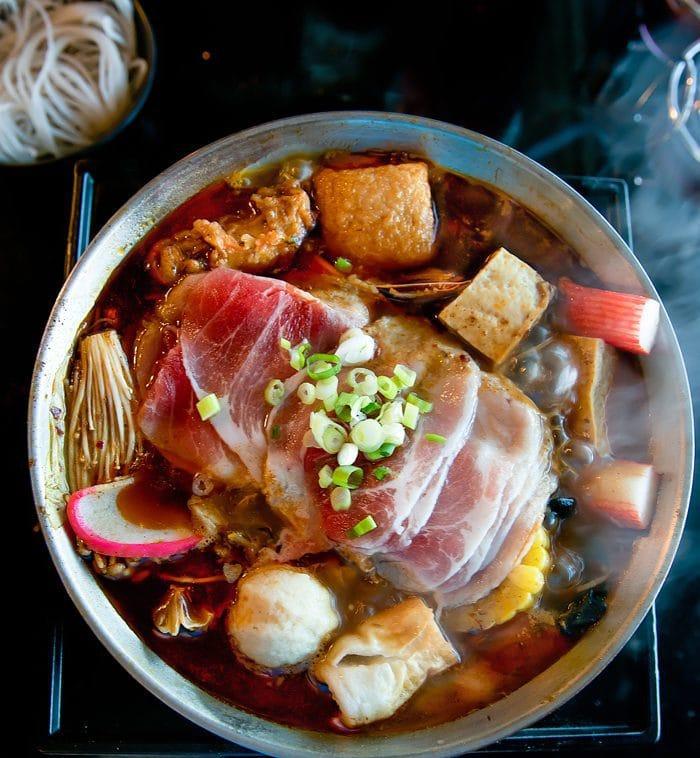 overhead photo of Kurobuta Pork with Szechuan Pepper