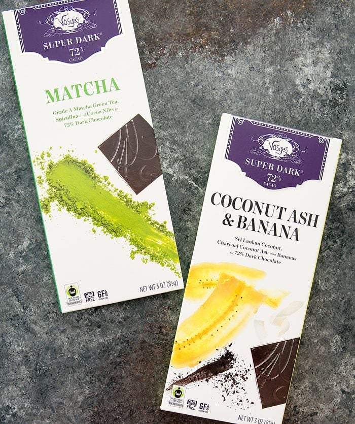 photo of two packages of Coconut Ash & Banana Super Dark™ Chocolate from Vosges Chocolate