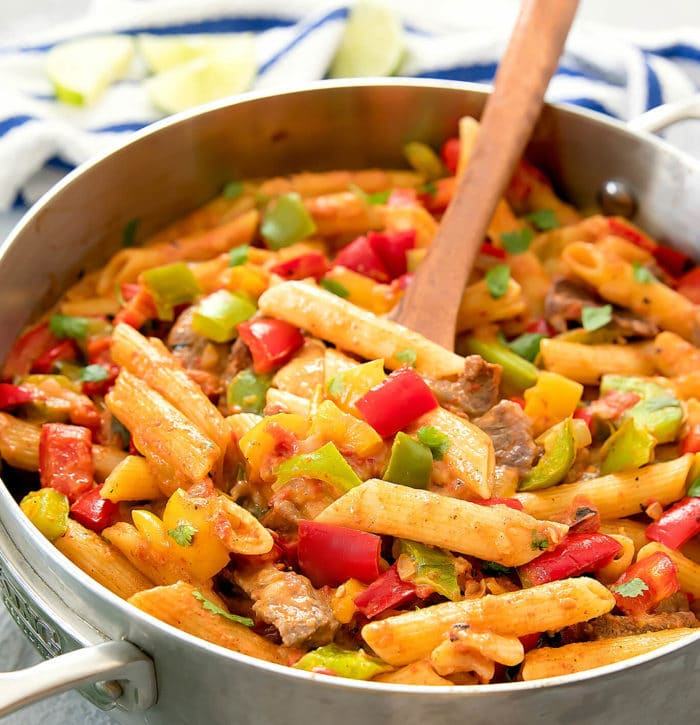 close-up photo of One Pot Fajita Pasta