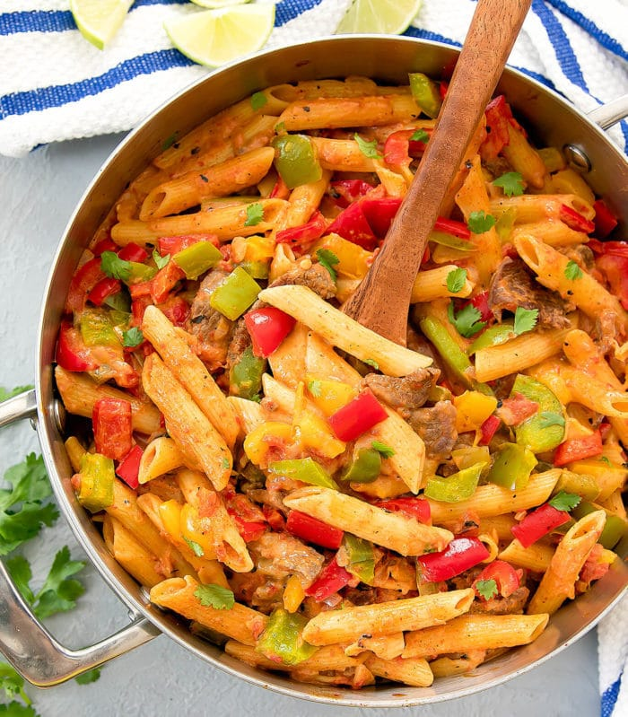 overhead photo of One Pot Fajita Pasta