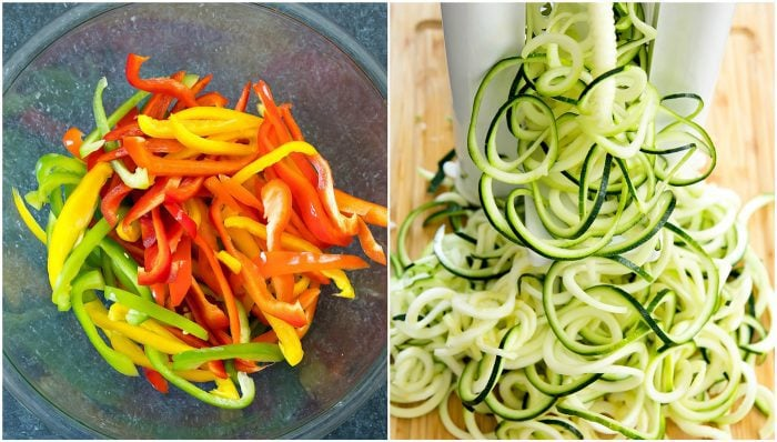 photo collage showing how to prep the peppers and zucchini