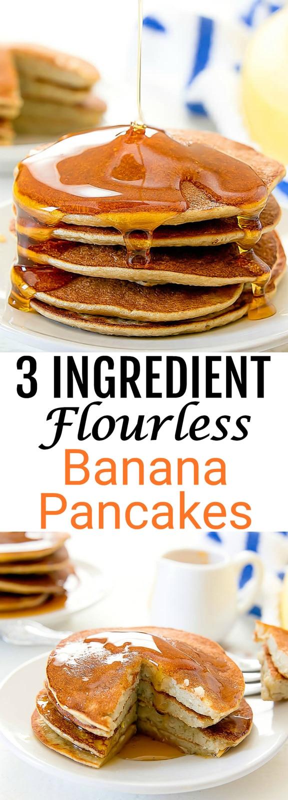 3 Ingredient Flourless Banana Pancakes. These gluten free pancakes are super easy!