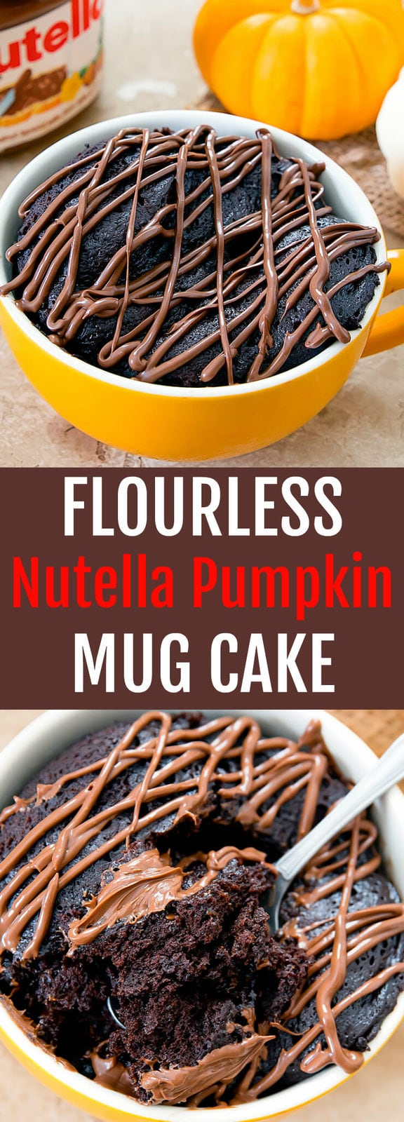 Flourless Nutella Pumpkin Mug Cake. This super moist chocolate gluten free cake cooks in the microwave in 2 minutes!
