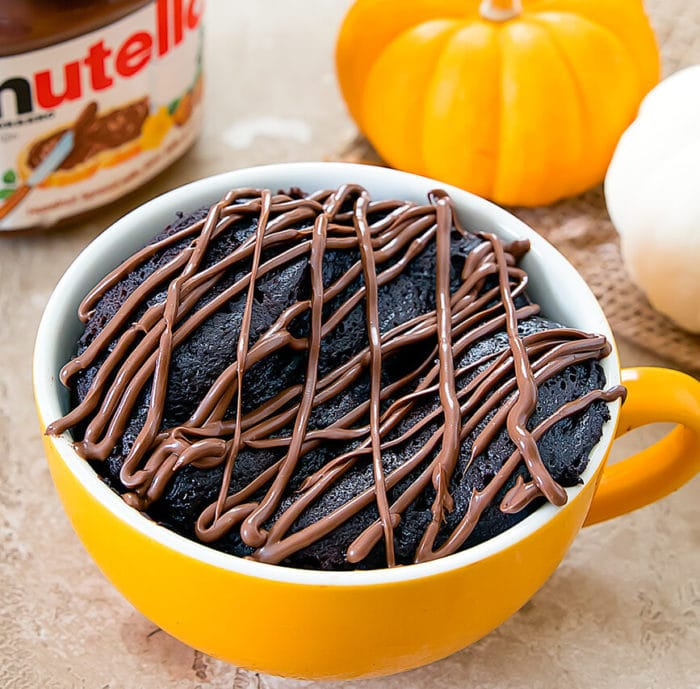 overhead photo of Flourless Nutella Pumpkin Mug Cake