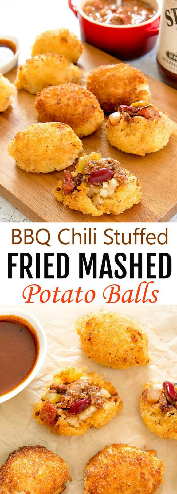Fried Mashed Potato Balls stuffed with BBQ Chili