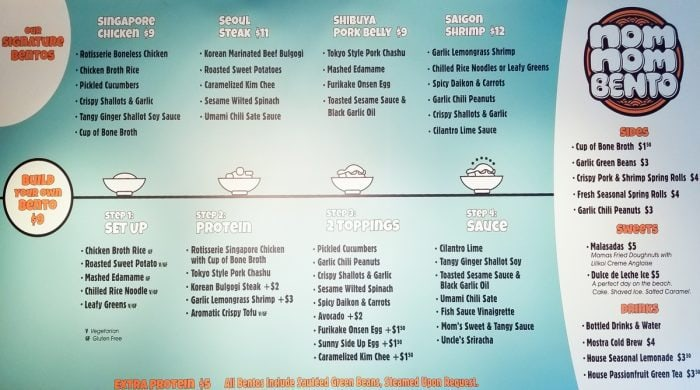 photo of the menu at Nom Nom Bento