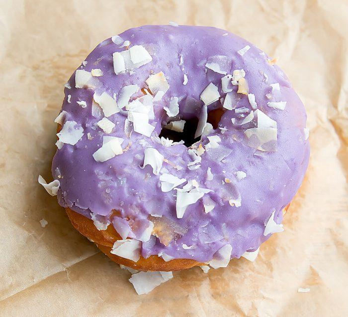 overhead photo of Ube Taro donut