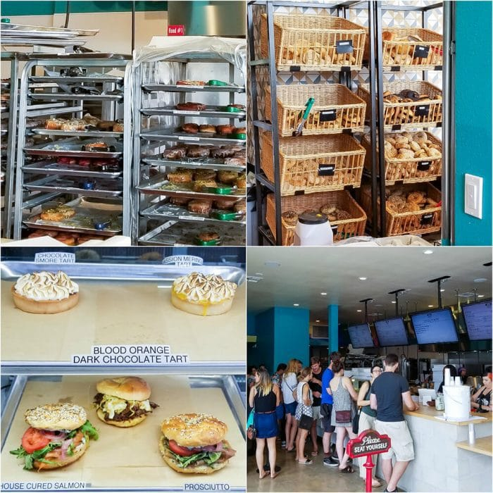 photo collage of the interior of Nomad Donuts Bakery & Cafe