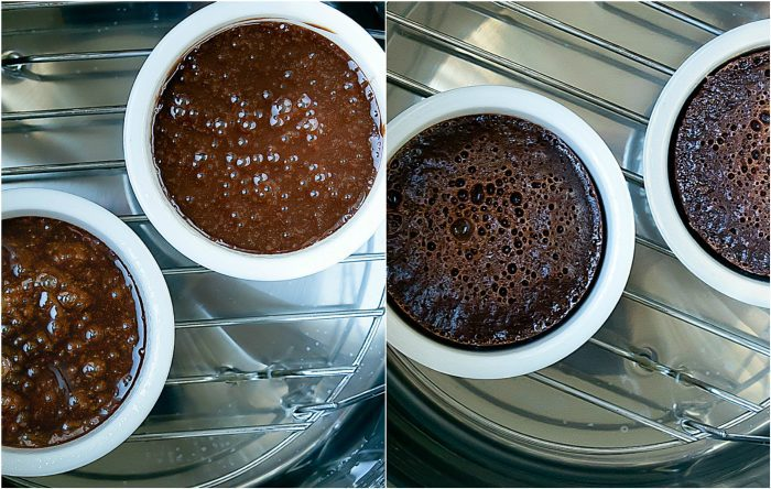 photo collage showing the cakes in the Instant Pot before and after they're cooked