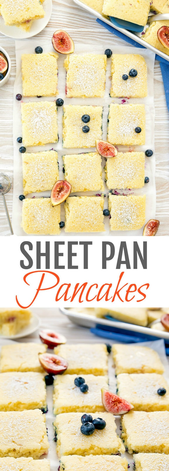 Sheet Pan Pancakes. Make baked fluffy pancakes for a large group in less than 30 minutes!