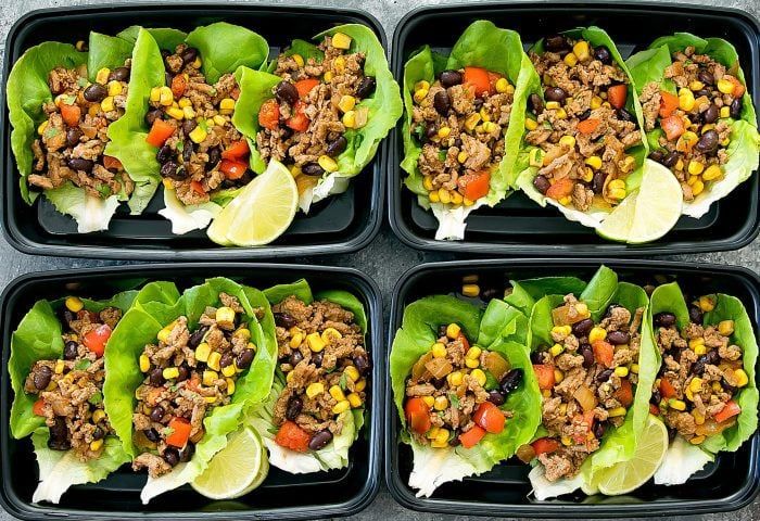 top-down photo of Taco Lettuce Wraps in meal containers