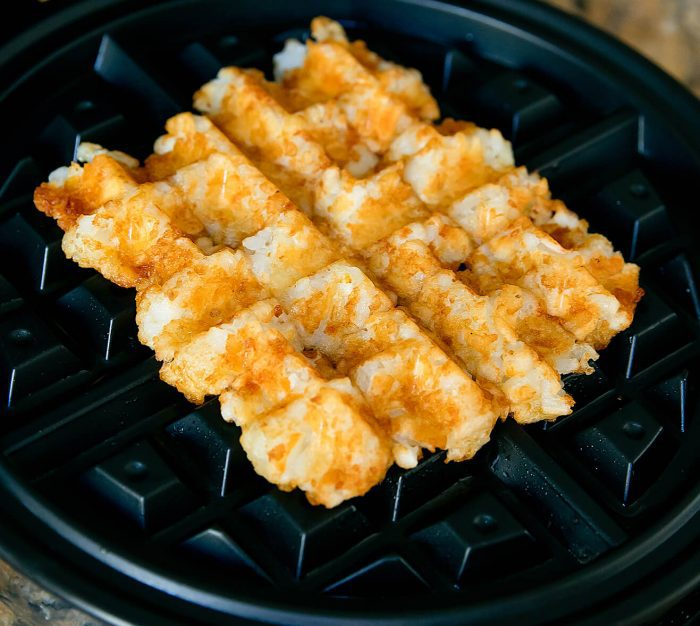 step by step photo showing what the waffled tator tots look like