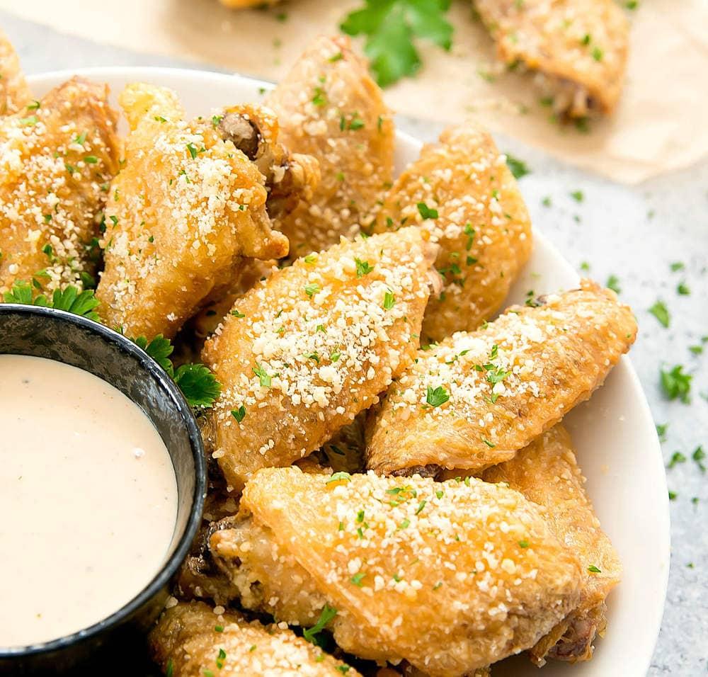 close-up photo of Baked Garlic Parmesan Wings