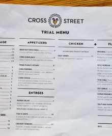 photo of the menu at Cross Street Chicken and Beer
