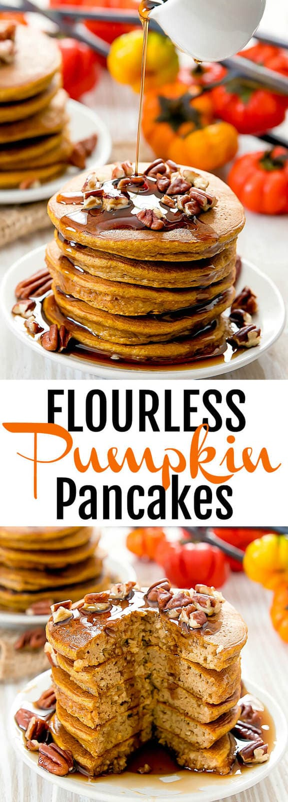 Flourless Pumpkin Pancakes. These fluffy pancakes are gluten free, easy and contain no wheat flour.