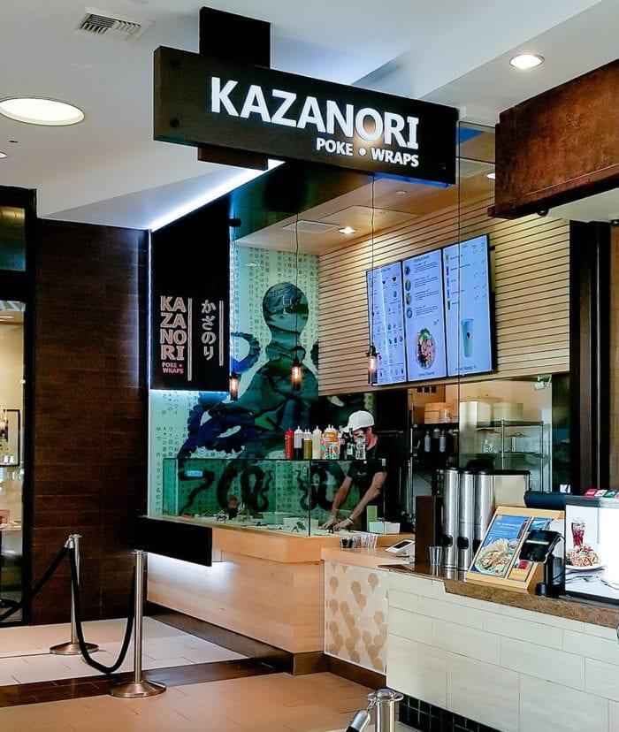 photo of signage inside Kazanori Poke & Wraps