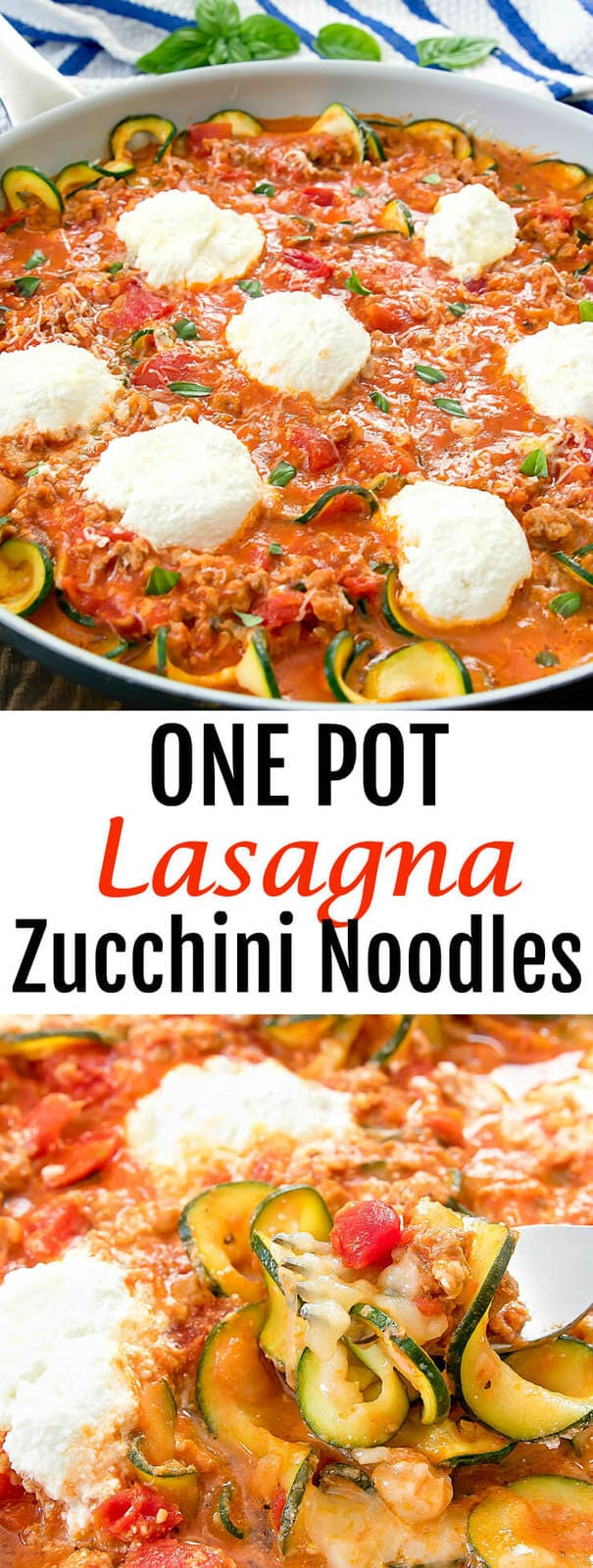 One Pot Lasagna Zucchini Noodles. A healthier spin on lasagna pasta that is flavorful and easy.