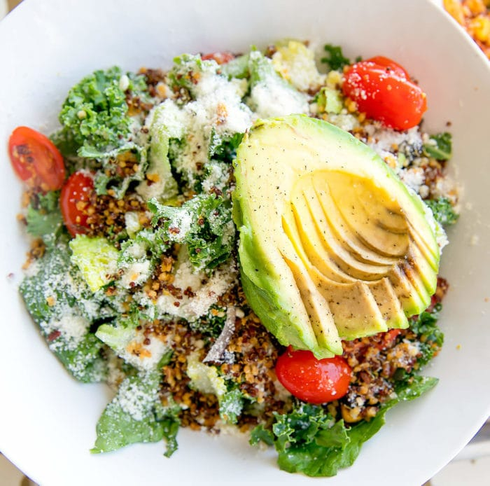 overhead photo of Avocado & Quinoa Superfood Ensalada