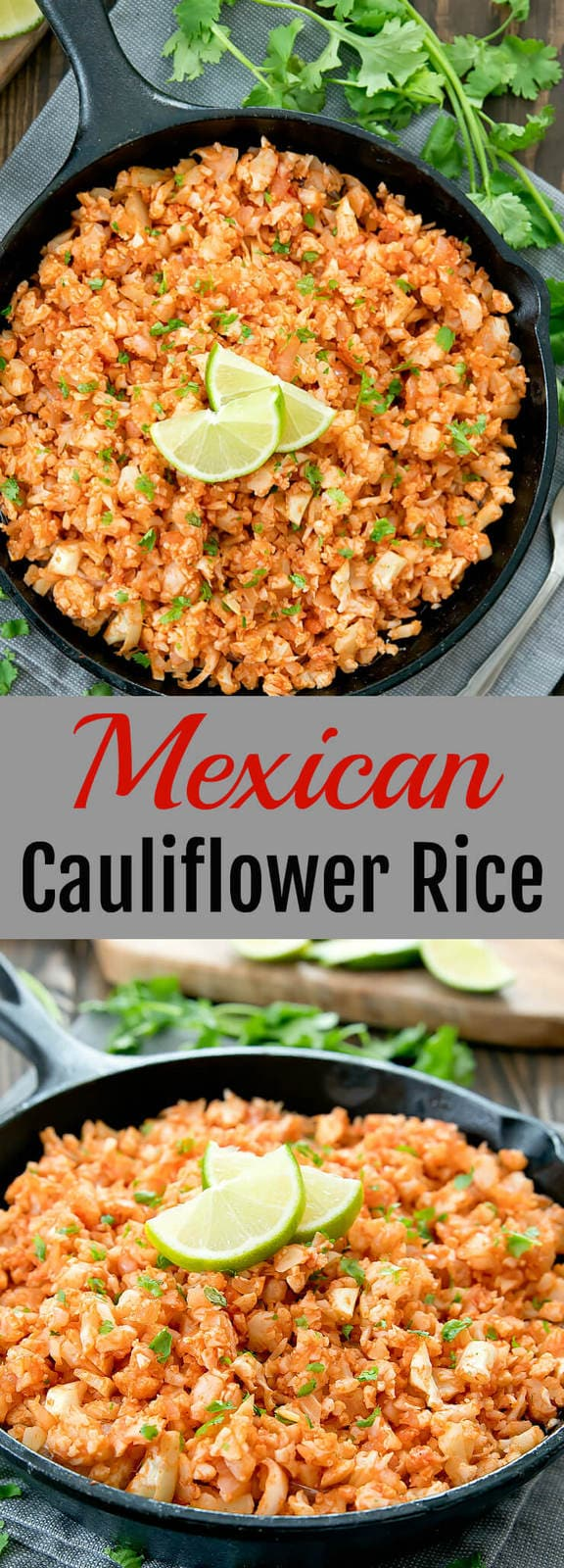 Mexican Cauliflower Rice. All the flavors of Mexican rice are incorporated into this easy, low carb, gluten free dish.