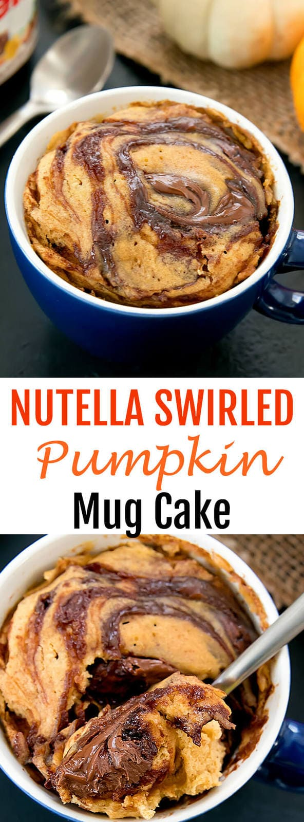 Nutella Swirled Pumpkin Mug Cake. This single serving cake is light and fluffy, full of pumpkin spices. Cooks in the microwave!