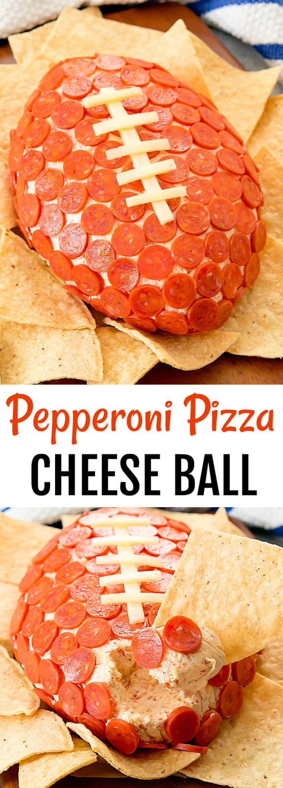 Pepperoni Pizza Cheese Ball. Super fun and easy. Perfect for game day, tailgate party or Super Bowl.
