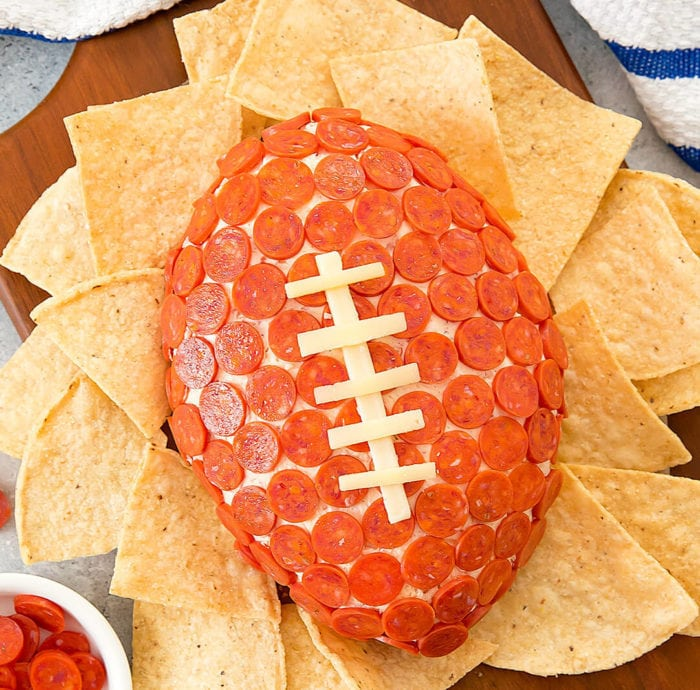 overhead photo of Pepperoni Pizza Cheese Ball