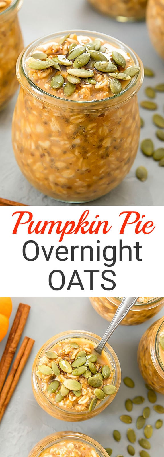 Pumpkin Pie Overnight Oats. Easy, no-cook oats that taste like pumpkin pie filling and can be prepped ahead of time for weekly meal prep.
