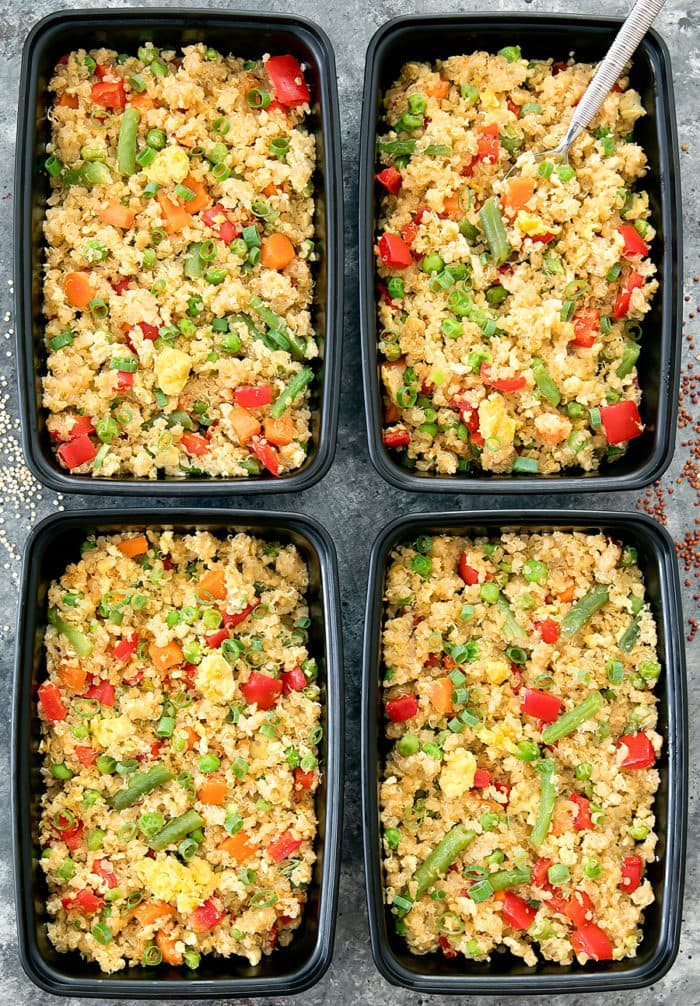 overhead photo of Quinoa Fried Rice in meal prep containers