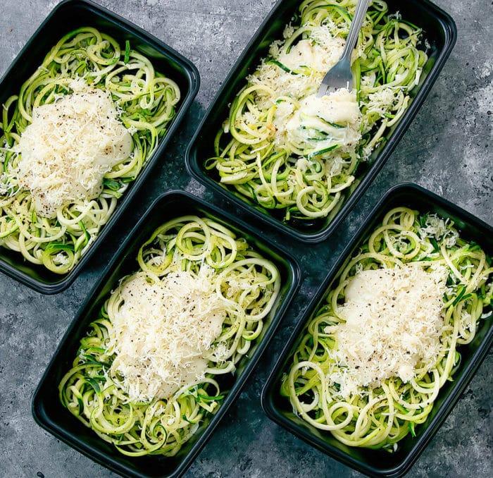 overhead photo of skinny Zucchini Noodle Alfredo